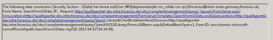 OData query timeout